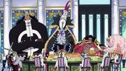 Fünf der sieben Oka Shichibukai beim Festmahl in Mary Geoise