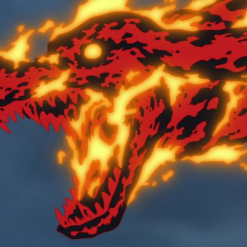 Sakazuki trasforma il magma generato in un cane