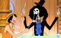 Brook and Luffy Demanding Dinner