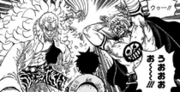 Doflamingo's Black Knight and Bellamy Attack Luffy