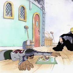 Sanji, açlıktan ölmek üzere olan Gin'e yemek verirken.