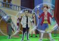 Luffy, Zoro y Sanji usando el Coating