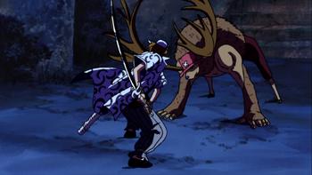 La maldición de la espada sagrada/Enfrentamientos