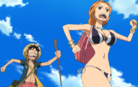Luffy and Nami Running From Danger