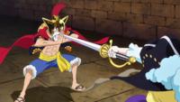 Durandal bloqué par Luffy à mains nues