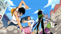 Luffy and Zoro Defeat Koby and Helmeppo