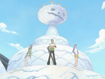 Mr. 3 Traps Zoro, Vivi, Nami, and Brogy