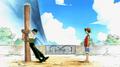 Luffy conociendo a Zoro