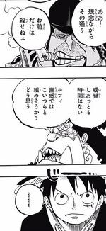 Jinbe convence a Luffy y Bege para dejar de lado la hostilidad