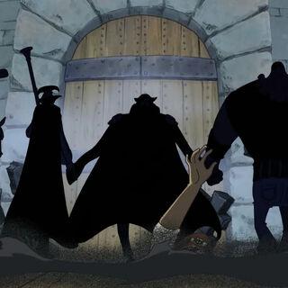 Kurohige und seine Bande entern Impel Down.