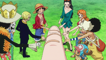 Straw Hat Crew Pinky Swears with Shirahoshi
