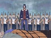 Tashigi removiendo los cargos de Crocodile