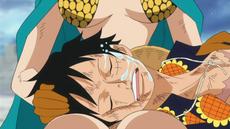 Rebecca llora en Luffy
