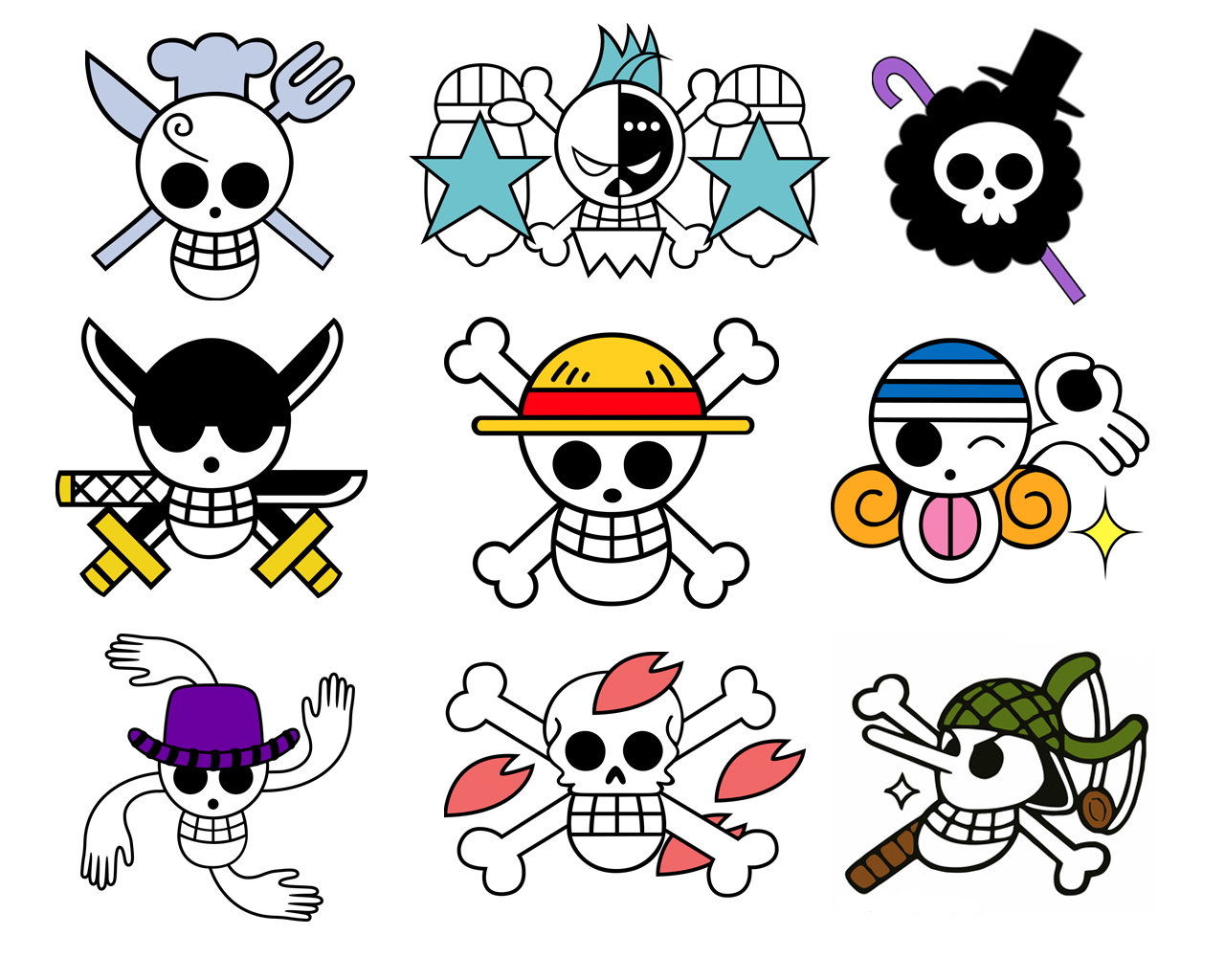 Image - Straw Hats Crew Jolly Rogers White.jpg | One Piece ...