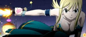 Lucy wielding Fleuve d'étoiles