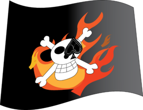 Burning Aces Skull Flag