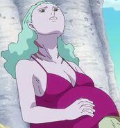 Pregnant fishwoman