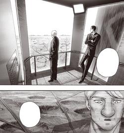 Sytch et Baurgne contemplant Ville A à travers une baie vitrée