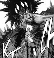 Gouketsu pinches Suiryu's attack