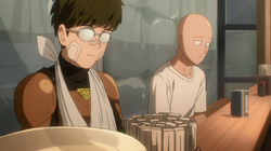 Saitama and Mumen Rider celebrate