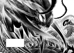 Elder Centipede about to engage in combat with Bang Bomb and Genos