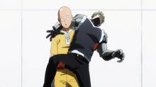 Saitama catches Genos