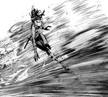 Genos demonstrates his increased speed against Sonic