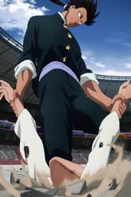 Suiryû enfonce Charanko à coup de genou