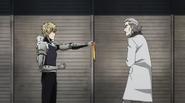 Genos asking man
