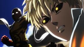 Genos overwhelmed by Saitama