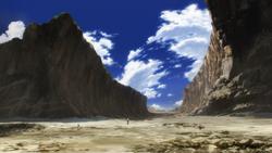 Mountain destroyed by Saitama anime