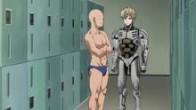 Saitama and Genos in the locker room