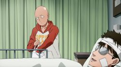Saitama and Mumen Rider in the hospital