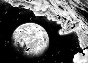 Saitama looks down at Earth from the Moon