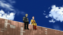 Genos and Saitama eating