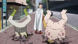 Crap-Homme et Glimace battus par Saitama