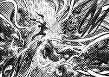 Garou attacks Orochi using Water Stream Rock Smashing Fist and Whirlwind Iron Cutting Fist