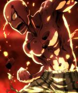 Saitama battling Subterraneans