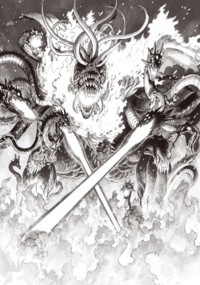 Orochi breathes fire