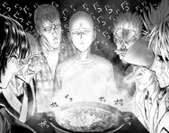 Repas de la cène entre Saitama, Bang, Kidob, Genos, Fubuki, Bomb et King
