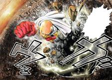Saitama punching through the meteor