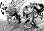 Orochi transforms to fight Garou