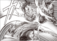 Flashy Flash bloqueando los ataques de Gale Wind y Hellfire Flame