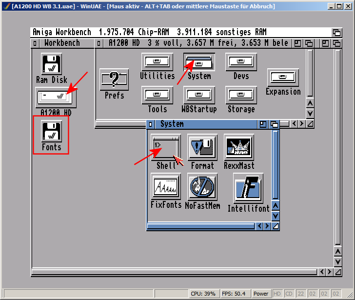 Amiga/Workbench 3 1 auf einem Amiga 1200 im WinUAE