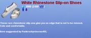 WhiteRhinestoneSliponShoes