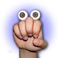 Oobi Grampu hand puppet eyes