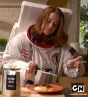 Louisa Roberts using space food