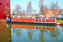 Traditional British canal narrowboat.