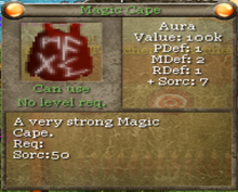 Magic cape tooltip