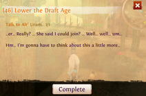 Quest lower the draft age complete